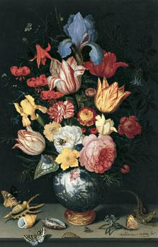 Vaso chino con flores, conchas e insectos, 1628, de Balthasar van der Ast